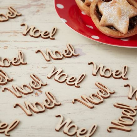 "Natural Wooden Christmas ""Noel"" Table Confetti, Christmas Decoration"